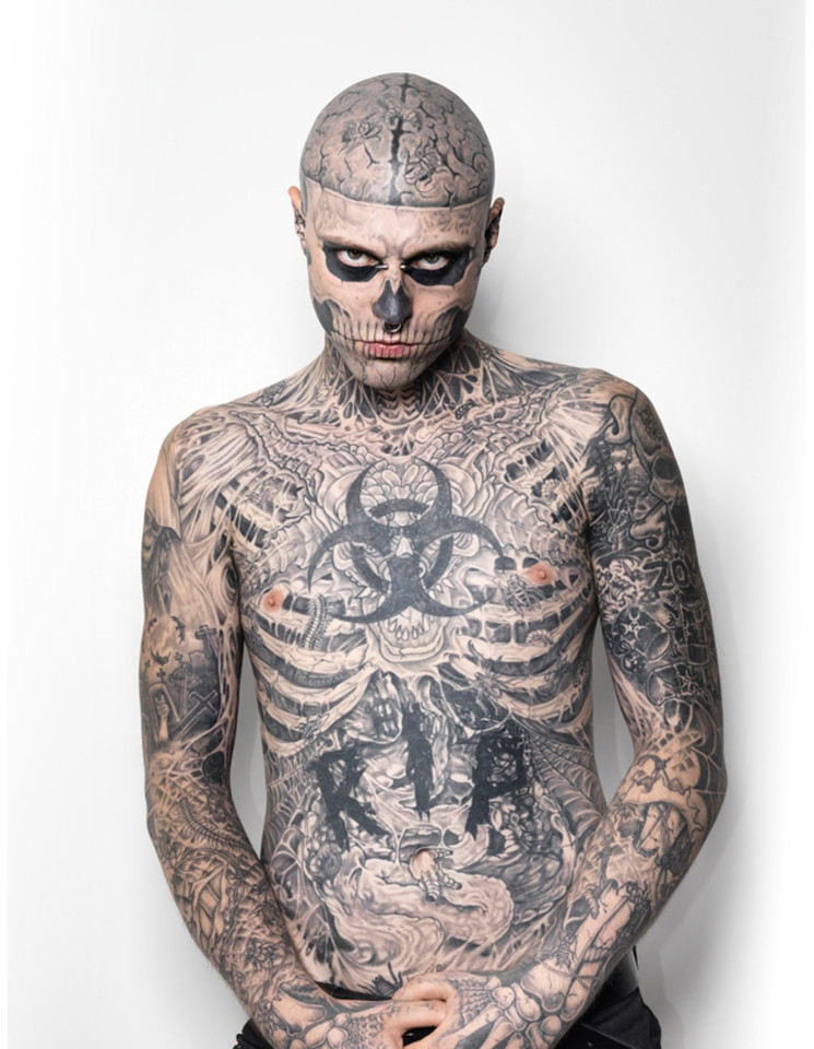 Rick Genest over the next six years he systematically put on his face and body more and more tattoos