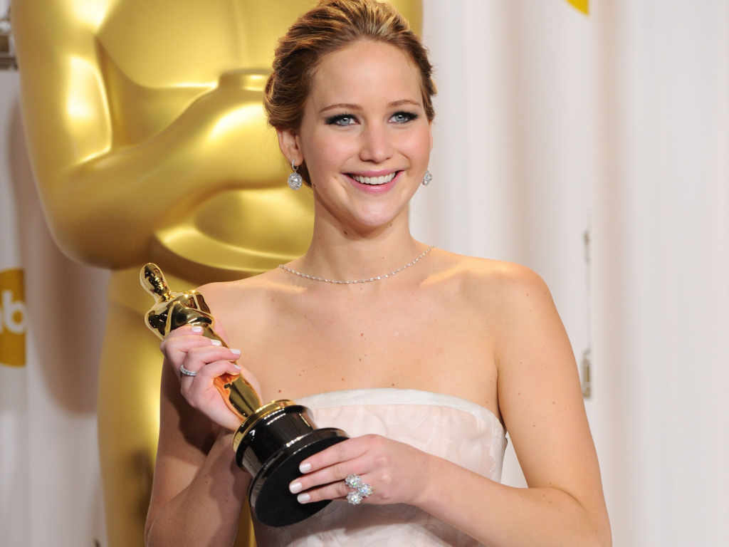 Jennifer Lawrence with her Oscar