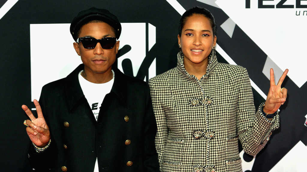 Pharrell Williams with his wife Helen Lasichanh