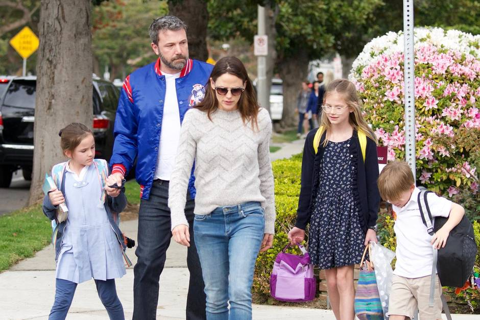 Ben Affleck with his ex-wife and their three kids