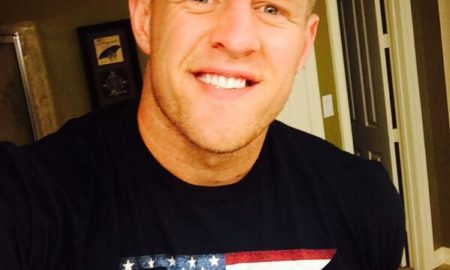 "J. J. Watt is 6'5""/196 cm tall and he weighs 289 lbs/131 kg"